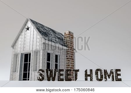 3d illustration of a small wooden house isolated on white background