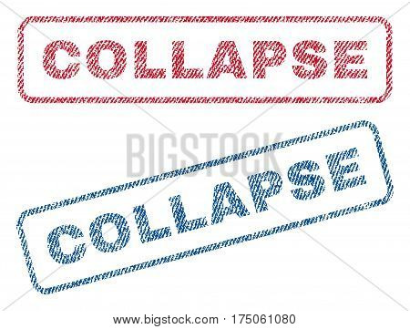 Collapse text textile seal stamp watermarks. Blue red fabric vectorized texture. Vector tag inside rounded rectangular banner. Rubber sign with fiber textile structure.