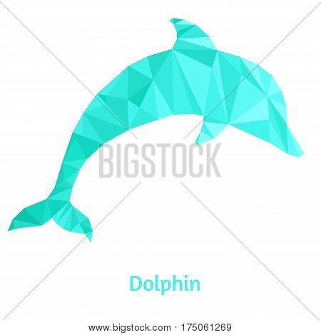 Stylized dolphin isolated on a white background. Made in low poly triangular style. Vector.
