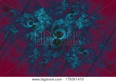The abstract concentric rings and a flowers