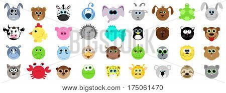 Big set of different animals in cartoon style. Domestic animals wild. Animals from the farm and from the zoo. Vector illustration in cartoon style.