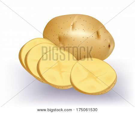 Potato with slices isolated on white background