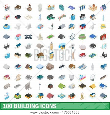 100 building icons set in isometric 3d style for any design vector illustration
