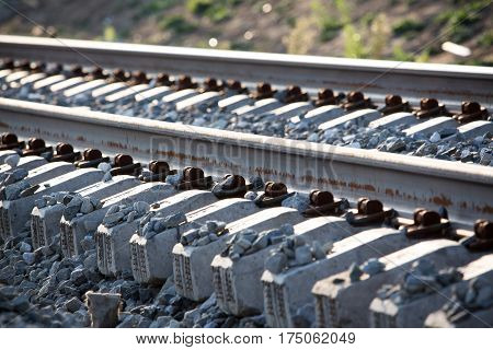Close up of railway sleepers and rails