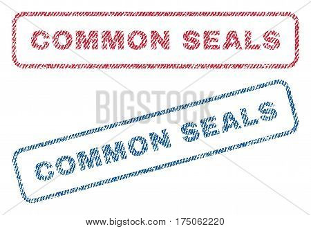 Common Seals text textile seal stamp watermarks. Blue red fabric vectorized texture. Vector tag inside rounded rectangular shape. Rubber sign with fiber textile structure.