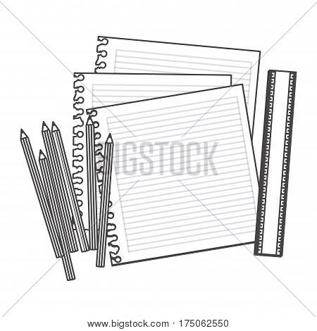 figure pencils color, notebook and rule icon, vector illustraction design