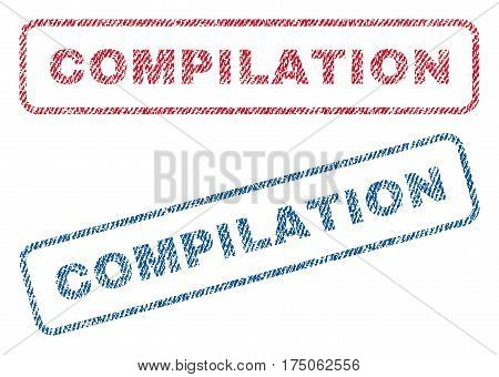Compilation text textile seal stamp watermarks. Blue red fabric vectorized texture. Vector caption inside rounded rectangular banner. Rubber sticker with fiber textile structure.