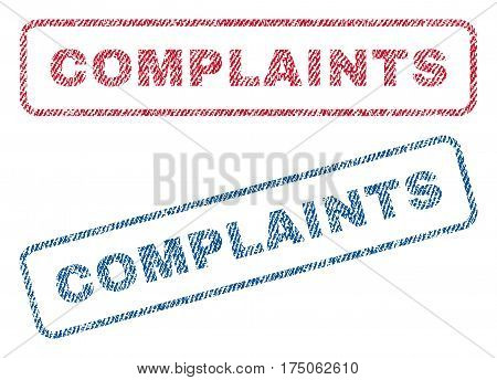 Complaints text textile seal stamp watermarks. Blue red fabric vectorized texture. Vector tag inside rounded rectangular banner. Rubber sign with fiber textile structure.