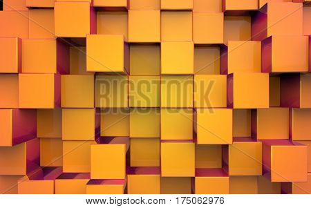 Background from extruded squares, yellow color