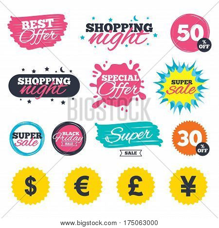 Sale shopping banners. Special offer splash. Dollar, Euro, Pound and Yen currency icons. USD, EUR, GBP and JPY money sign symbols. Web badges and stickers. Best offer. Vector