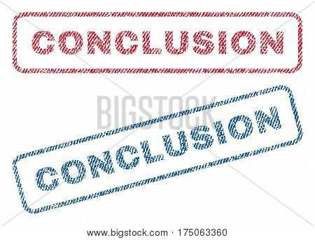 Conclusion text textile seal stamp watermarks. Blue red fabric vectorized texture. Vector caption inside rounded rectangular banner. Rubber sign with fiber textile structure.