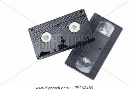 classic black video cassette on a white background