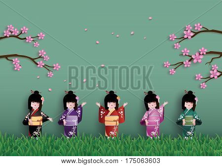 Illustration of nature with spring season Japanese girls wearing national dress happily. Under the cherry (sakura) trees are blossoming.paper art and craft style.