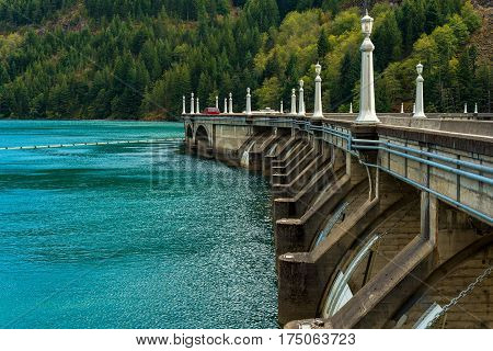 Diablo Dam in North Cascades National Park in Washington State which can be driven across