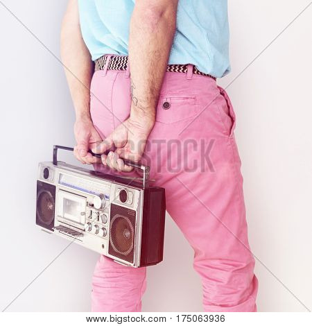Crop photo of man colorful fashion holding stereo
