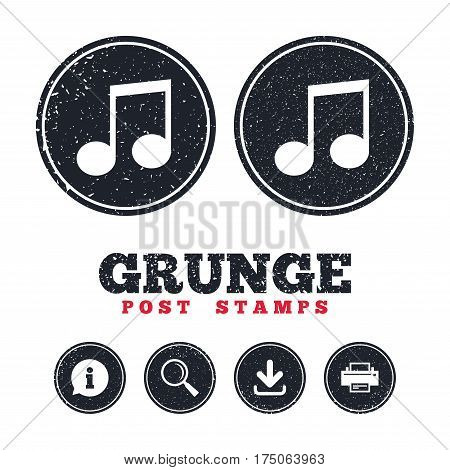 Grunge post stamps. Music note sign icon. Musical symbol. Information, download and printer signs. Aged texture web buttons. Vector