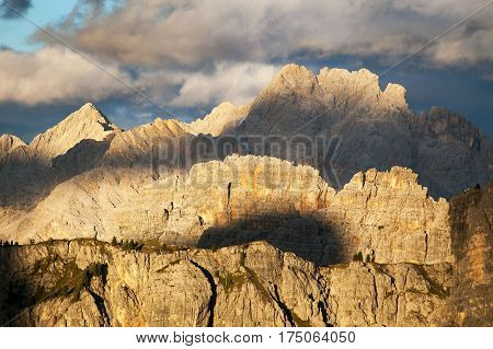 Evening view from dolomites South Tirol dolomites mountains Italy