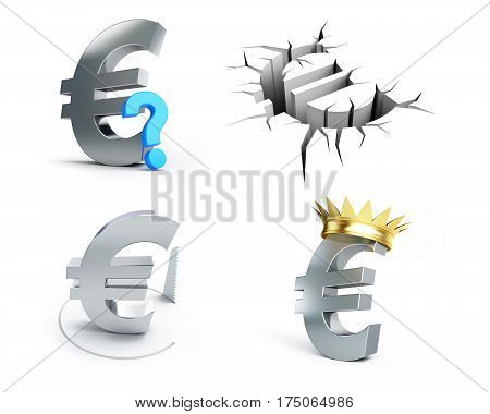 Euro signs set on a white background 3D illustration