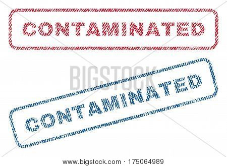 Contaminated text textile seal stamp watermarks. Blue red fabric vectorized texture. Vector tag inside rounded rectangular shape. Rubber sticker with fiber textile structure.