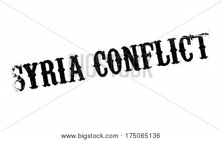 Syria Conflict rubber stamp. Grunge design with dust scratches. Effects can be easily removed for a clean, crisp look. Color is easily changed.