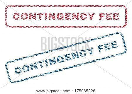 Contingency Fee text textile seal stamp watermarks. Blue red fabric vectorized texture. Vector tag inside rounded rectangular shape. Rubber sign with fiber textile structure.