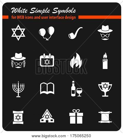 hanukkah web icons for user interface design