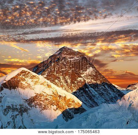 Mount Everest Evening colored view of Mount Everest from Kala Patthar Khumbu valley Solukhumbu Mount Everest area Sagarmatha national park Nepal