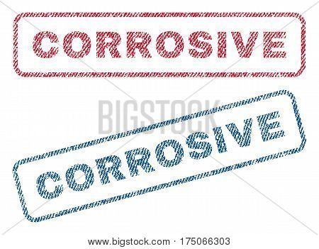 Corrosive text textile seal stamp watermarks. Blue red fabric vectorized texture. Vector tag inside rounded rectangular banner. Rubber sticker with fiber textile structure.