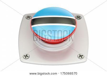 Botswana flag push button 3D rendering  isolated on white background