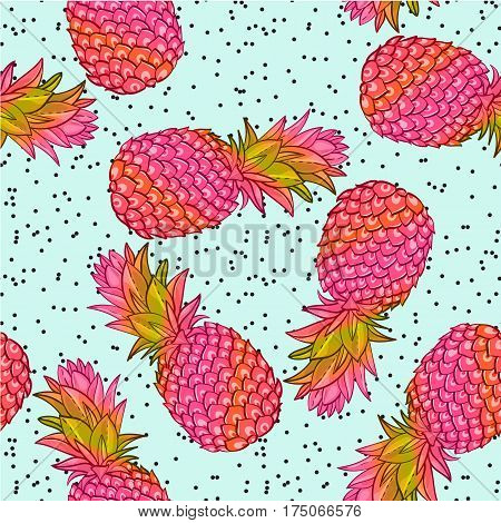 Pineapple creative trendy seamless pattern. Neon colors fashionable style memphis, rave Texture for scrapbooking, wrapping paper, textiles, web page, textile wallpapers, surface design, fashion