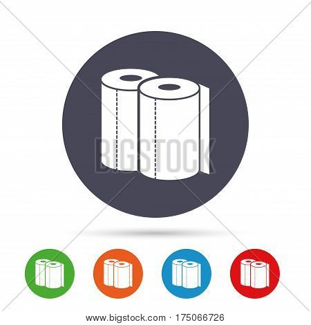 Paper towels sign icon. Kitchen roll symbol. Round colourful buttons with flat icons. Vector