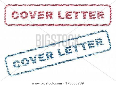 Cover Letter text textile seal stamp watermarks. Blue red fabric vectorized texture. Vector tag inside rounded rectangular banner. Rubber emblem with fiber textile structure.