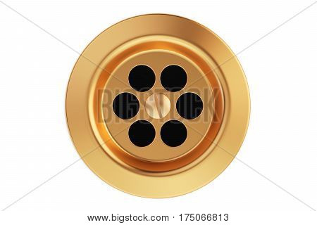Kitchen sink drain round plug hole. 3D rendering