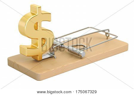 mousetrap with dollar sign 3D rendering isolated on white background