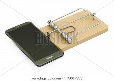 mousetrap with smartphone 3D rendering isolated on white background