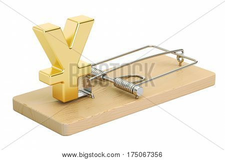 mousetrap with yen or yuan sign 3D rendering isolated on white background