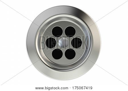 Top view of kitchen sink drain round plug hole. 3D rendering
