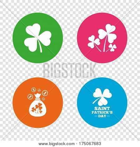Saint Patrick day icons. Money bag with clover and coins sign. Trefoil shamrock clover. Symbol of good luck. Round buttons on transparent background. Vector
