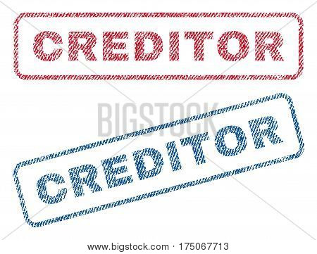 Creditor text textile seal stamp watermarks. Blue red fabric vectorized texture. Vector caption inside rounded rectangular shape. Rubber emblem with fiber textile structure.