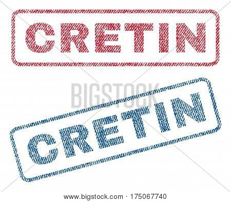 Cretin text textile seal stamp watermarks. Blue red fabric vectorized texture. Vector tag inside rounded rectangular banner. Rubber sign with fiber textile structure.