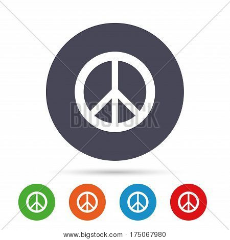 Peace sign icon. Hope symbol. Antiwar sign. Round colourful buttons with flat icons. Vector