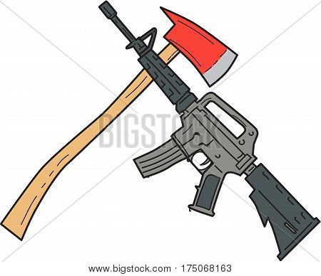 Drawing sketch style illustration of a crossed fire ax and a rifle used by the United States Army and US Marine Corps combat units set on isolated white background.
