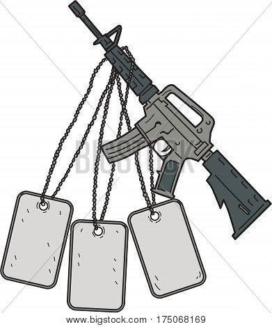 Drawing sketch style illustration of a weapon used by United States Army and US Marine Corps combat units as the primary infantry weapon with giant dog tags hanging viewed from the side