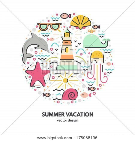 Modern vector illustration with different summer vacation items and objects including sunglasses, starfish, waves. Tropical vacation design element for posters, banners, advertisings - isolated on background modern vector graphic.