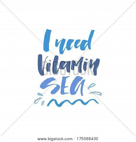 Unique hand lettering design for travel agency, summer party, postcard or summer sale. Handdrawn lettering with summer elements. Vector emblem for summer signs and banners. poster