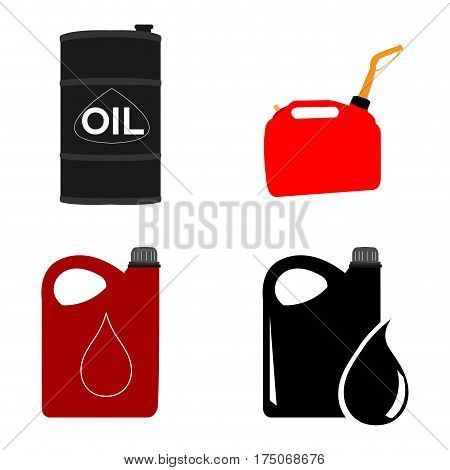 Set of different oil containers on a white background, Vector illustration