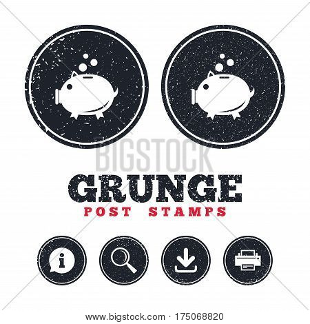 Grunge post stamps. Piggy bank sign icon. Moneybox symbol. Information, download and printer signs. Aged texture web buttons. Vector