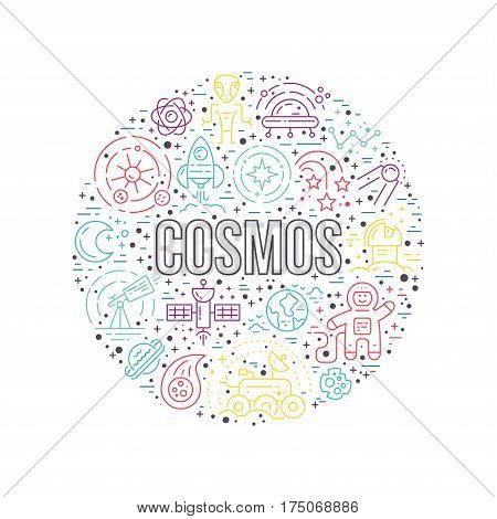 Cosmos clipart element - a lot of different space and universe elements arranged in a circle with cosmos sign. Vector line art for book cover, t-shirt, flyer or banner,