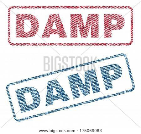 Damp text textile seal stamp watermarks. Blue red fabric vectorized texture. Vector tag inside rounded rectangular shape. Rubber sign with fiber textile structure.