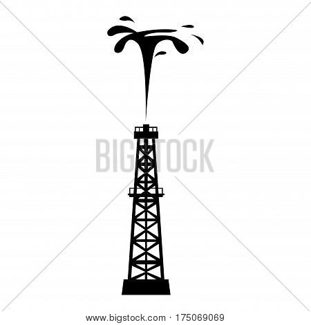 Isolated silhouette of an oil well, Vector illustration